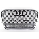 Решетка радиатора RS6 с надписью Quattro (алюминий) - Audi A6 / S6 (4G/C7)